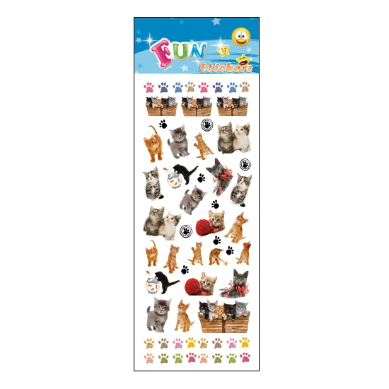 Stickervel katten & kittens. een stickervel vol met leuke stickers van kittens. het vel bevat ongeveer 30 ...