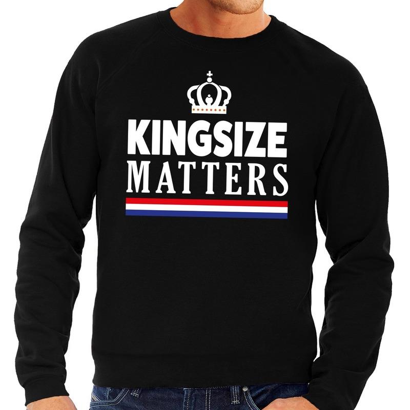 Kingsize matters sweater zwart heren