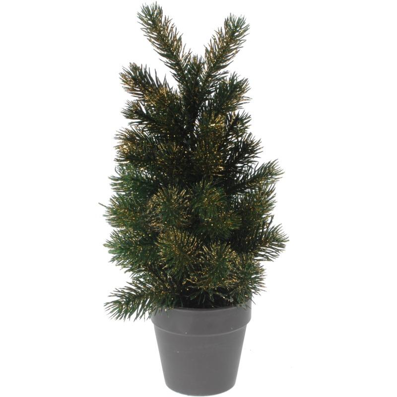 Kleine kunst kerstboom decoratie 29 cm groen-goud