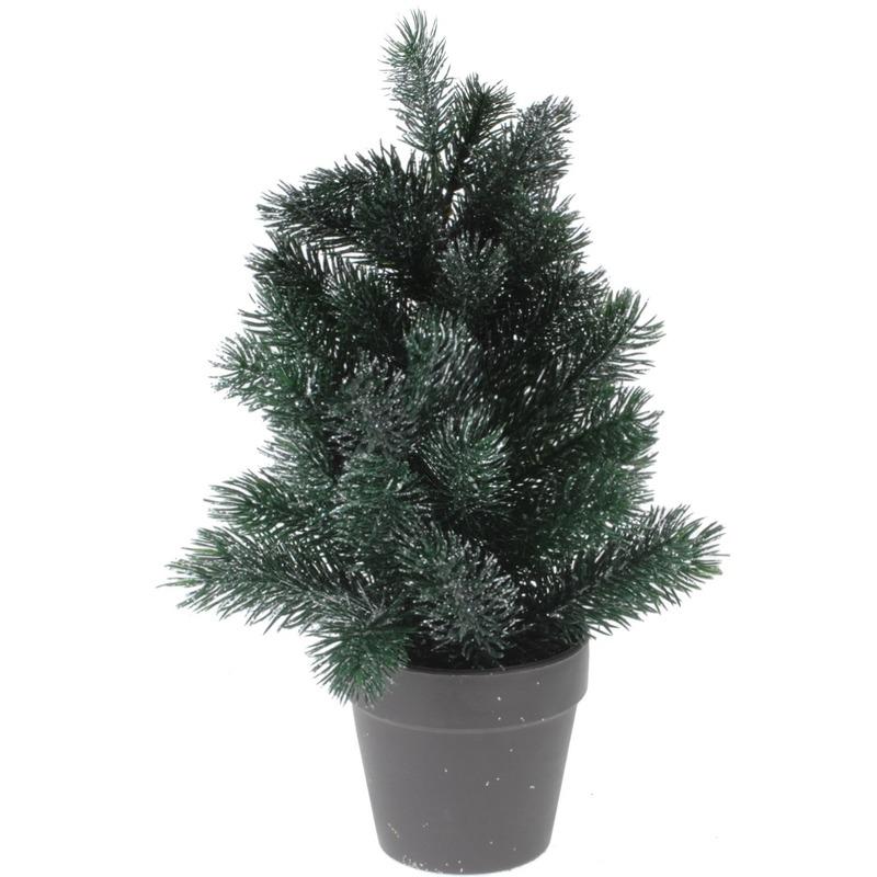 Kleine kunst kerstboom decoratie 29 cm groen-zilver