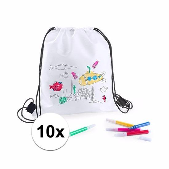 Knutselpakket sport tassen versieren kind 10 tasjes en stiften