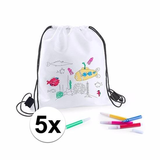 Knutselpakket sport tassen versieren kind 5 tasjes en stiften