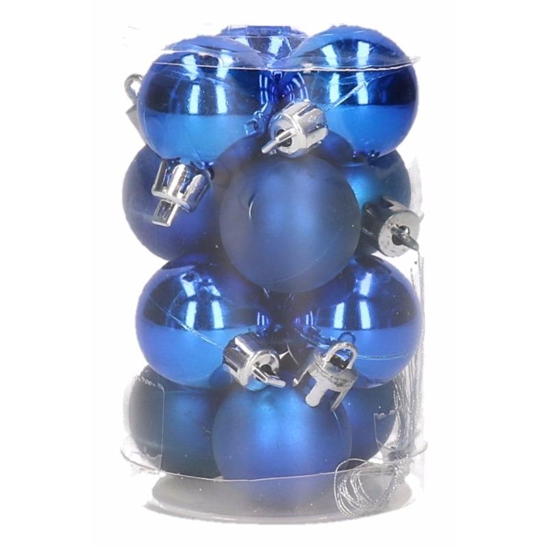 Kobalt blauwe kerstballen 12 stuks 3 cm