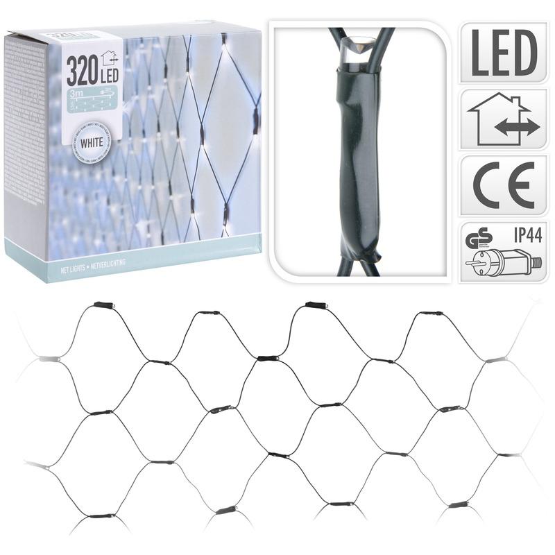 Koel witte netverlichting kerstlampjes 1,5 x 3 meter met 320 lampjes