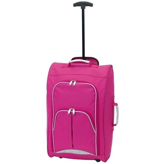 Koffer op wieltjes roze 55 cm