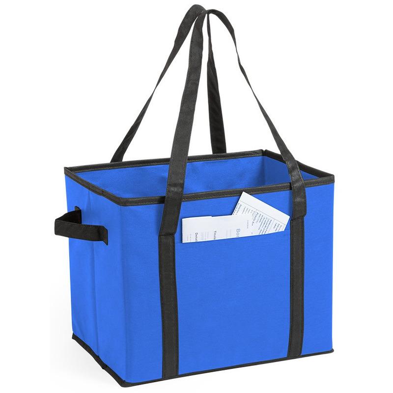 Kofferbak-kasten opberg tas blauw voor auto spullen 34 x 28 x 25 cm
