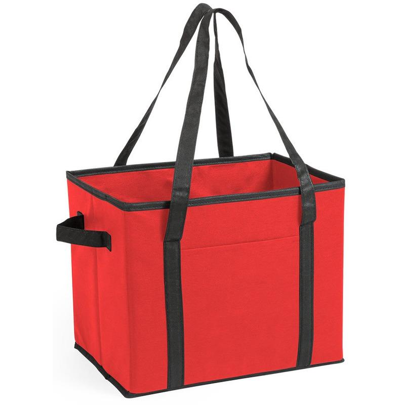 Kofferbak-kasten opberg tas rood voor auto spullen 34 x 28 x 25 cm