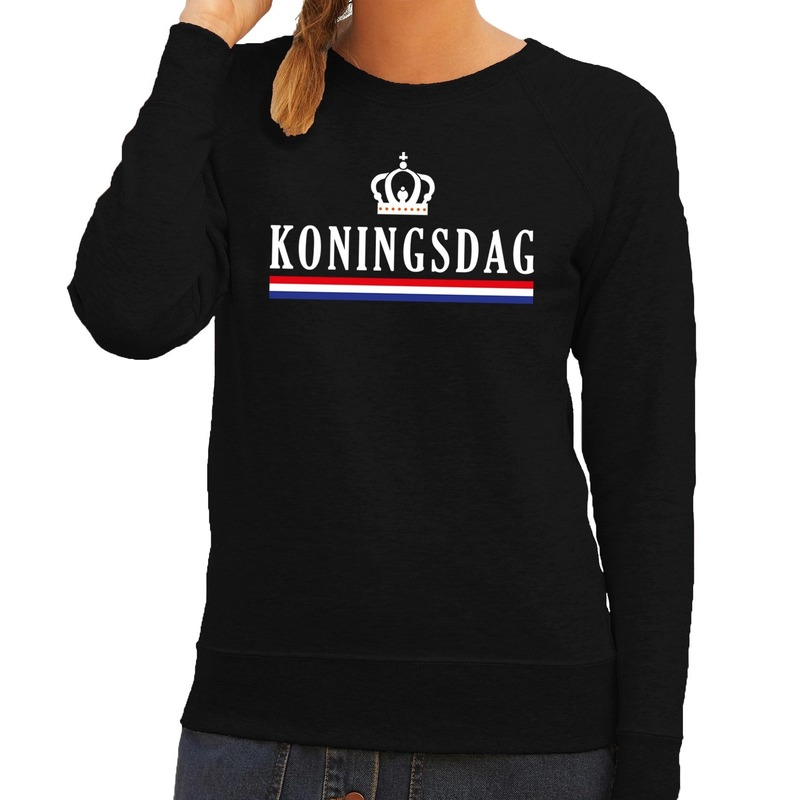 Koningsdag en vlag sweater zwart dames