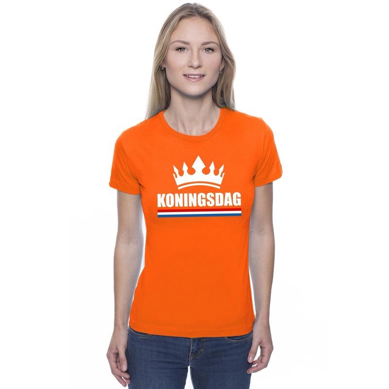Koningsdag met een kroon shirt oranje dames