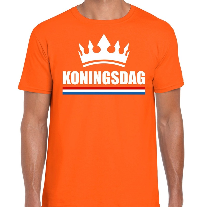 Koningsdag met kroon shirt oranje heren
