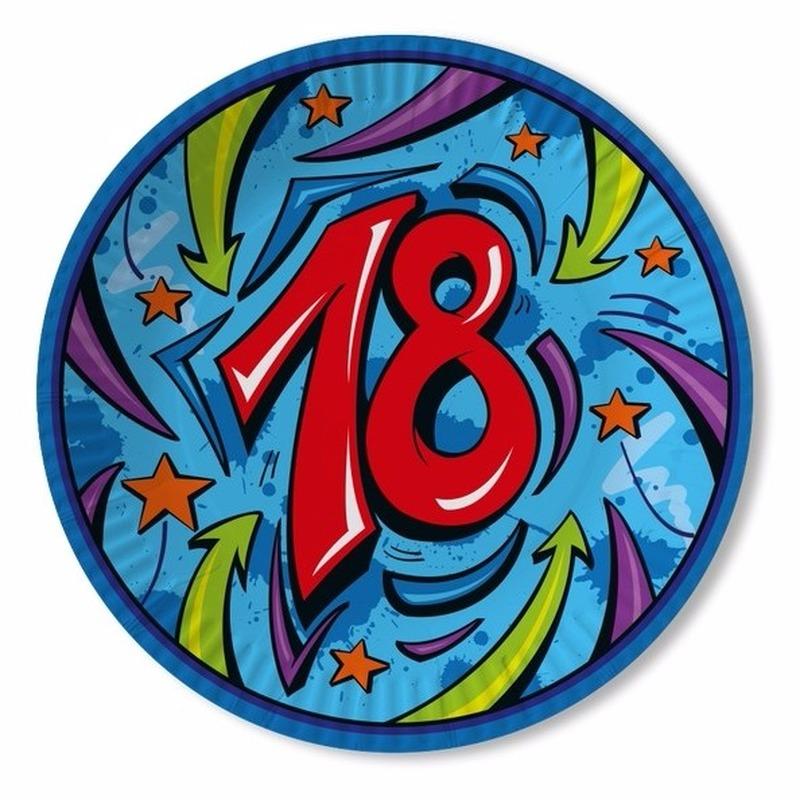 Leeftijd feestartikelen borden 18 jaar blauw
