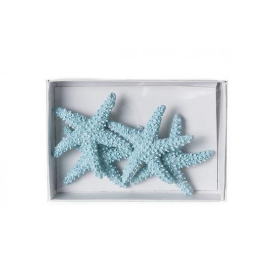 Lichtblauwe zeesterren decoratie 4 stuks van 4,5cm