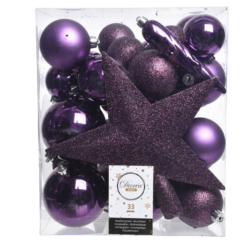Luxe kerstballen pakket + piek paars kunststof 33 stuks