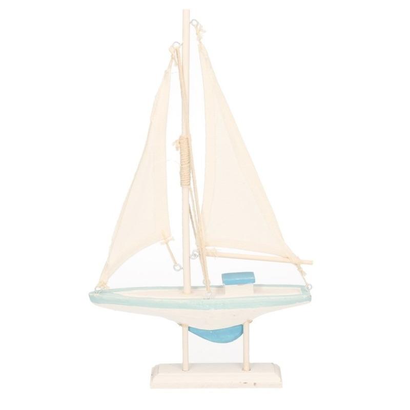 Maritieme woondecoratie zeilboot blauw-wit 19 x 30 cm van hout