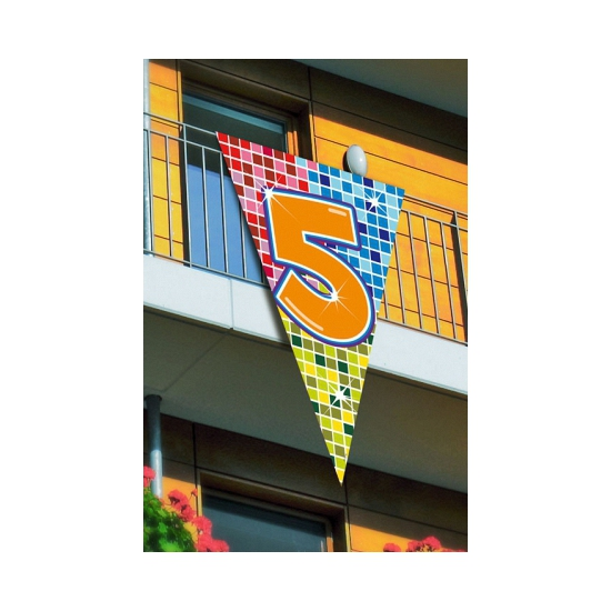 Mega vlag 5e verjaardag 90 x 150 cm