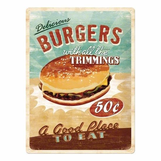 Metalen wanddecoratie van een hamburger