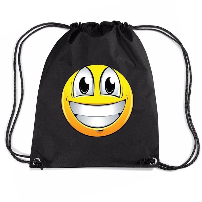 Nylon sporttas emoticon super vrolijk zwart