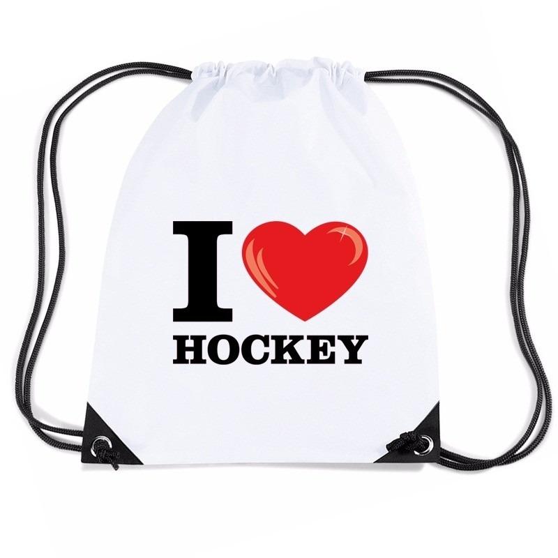 Nylon sporttas I love hockey wit