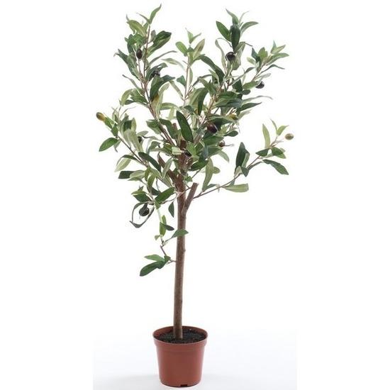 Olijfbomen kunstplanten-kunstbomen 65 cm in kunststof plantenpot