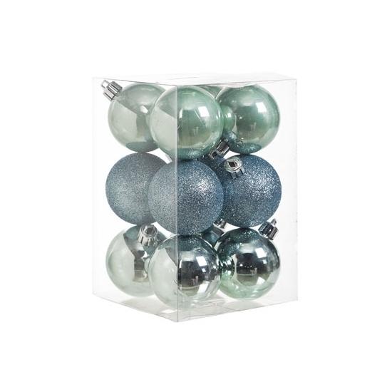 Onbreekbare mintgroene kerstballen 12x