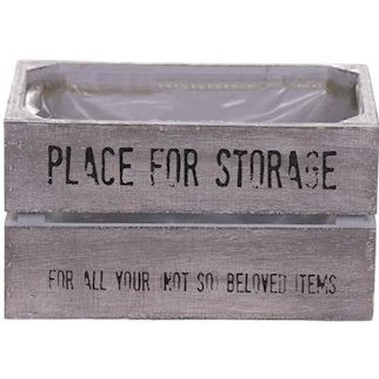 Opbergmandje-kist hout met plastic binnenzijde 11 x 18 x 10 cm
