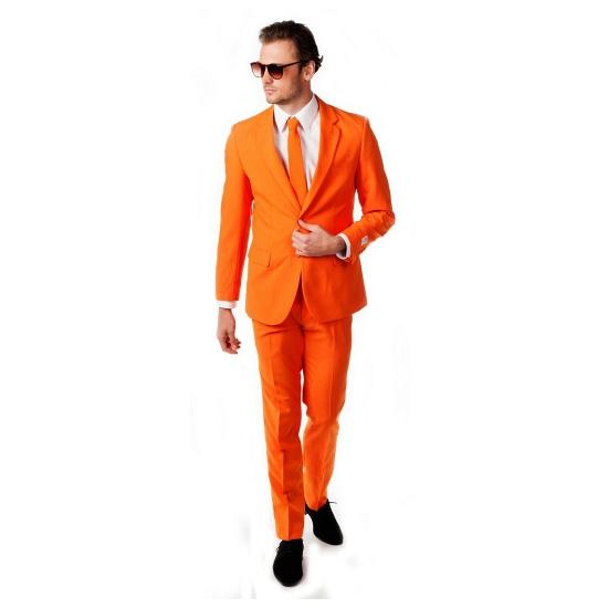 Oranje heren feest/party kostuum de luxe met stropdas