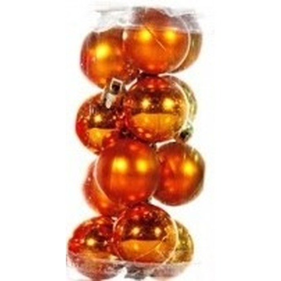 Oranje kerstballen 12 stuks 3 cm
