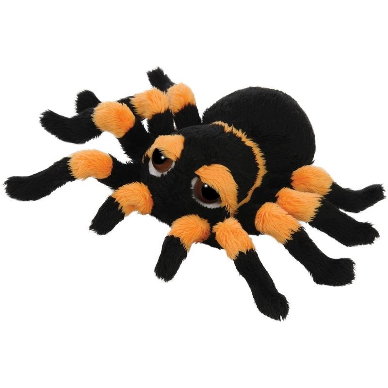 Oranje met zwarte spinnen knuffels 13 cm knuffeldieren