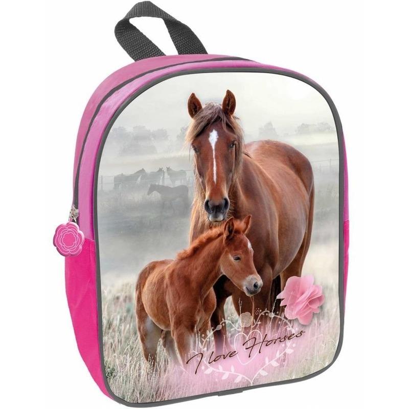 Paard met veulen school rugzak roze voor meisjes 29 x 23 x 10 cm
