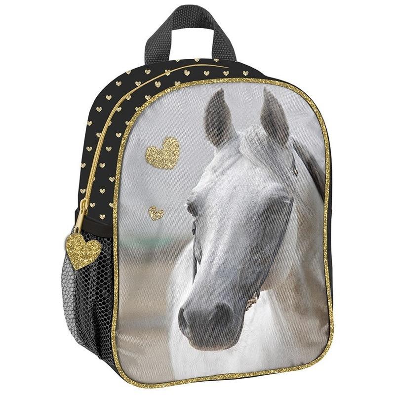 Paarden school rugzak zwart-goud voor meisjes 28 x 22 x 10 cm