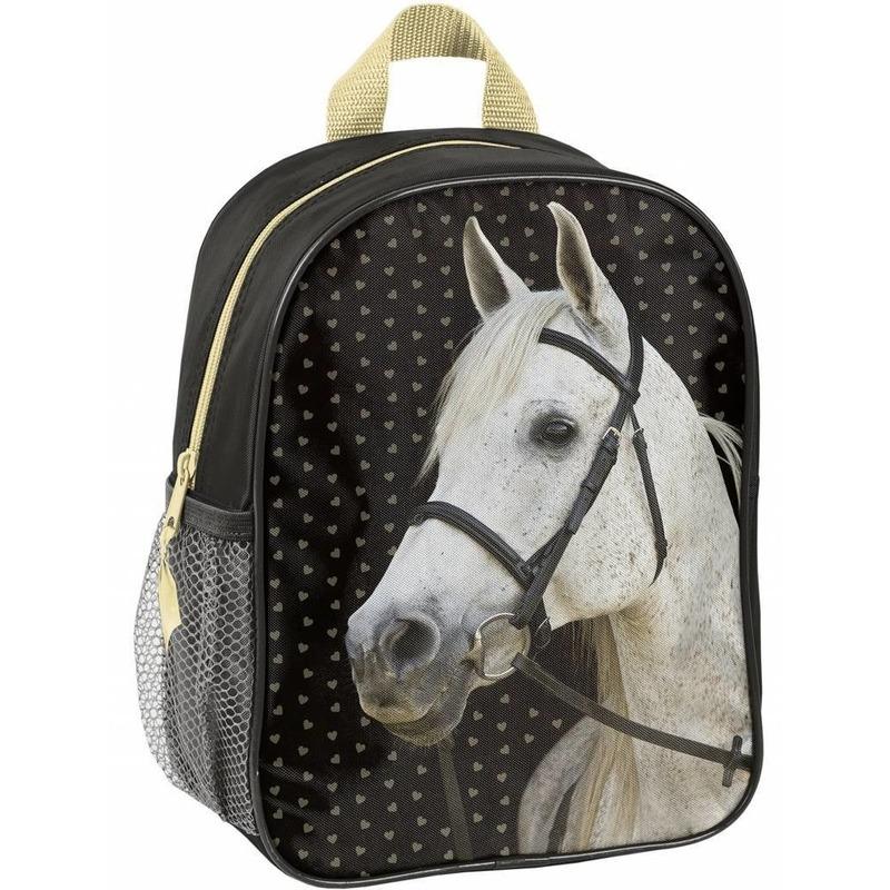 Paarden school rugzak zwart voor meisjes 28 x 22 x 10 cm