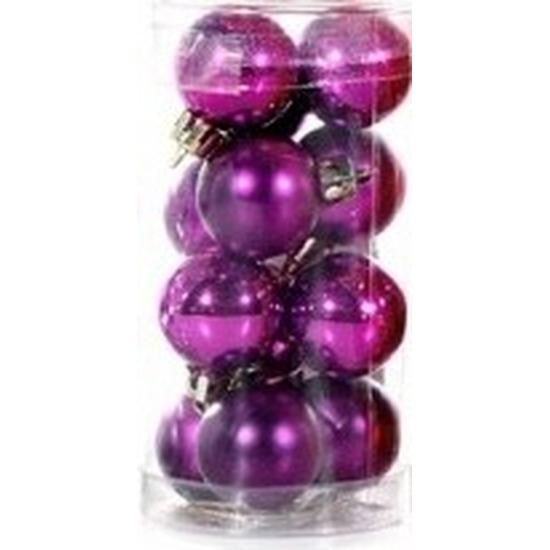 Paarse kerstballen 12 stuks 3 cm