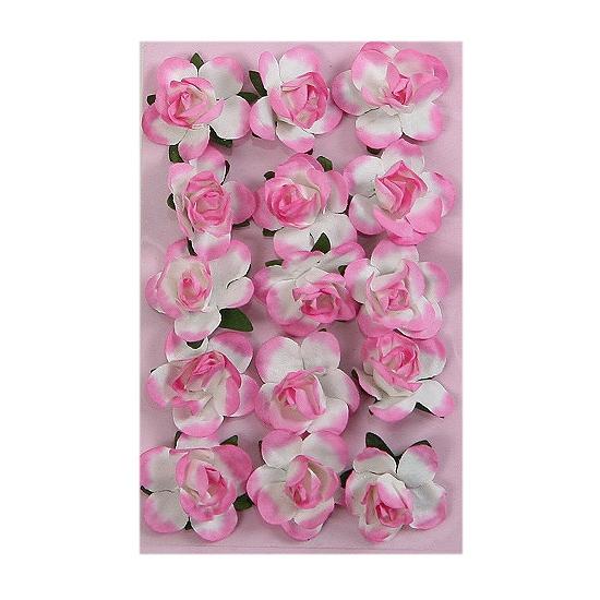 Papieren decoratie bloemetjes roze 1,5 cm