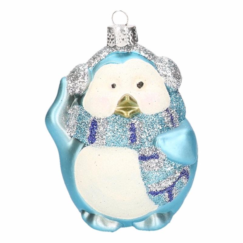 Pinguin kerstballen blauw 4 stuks