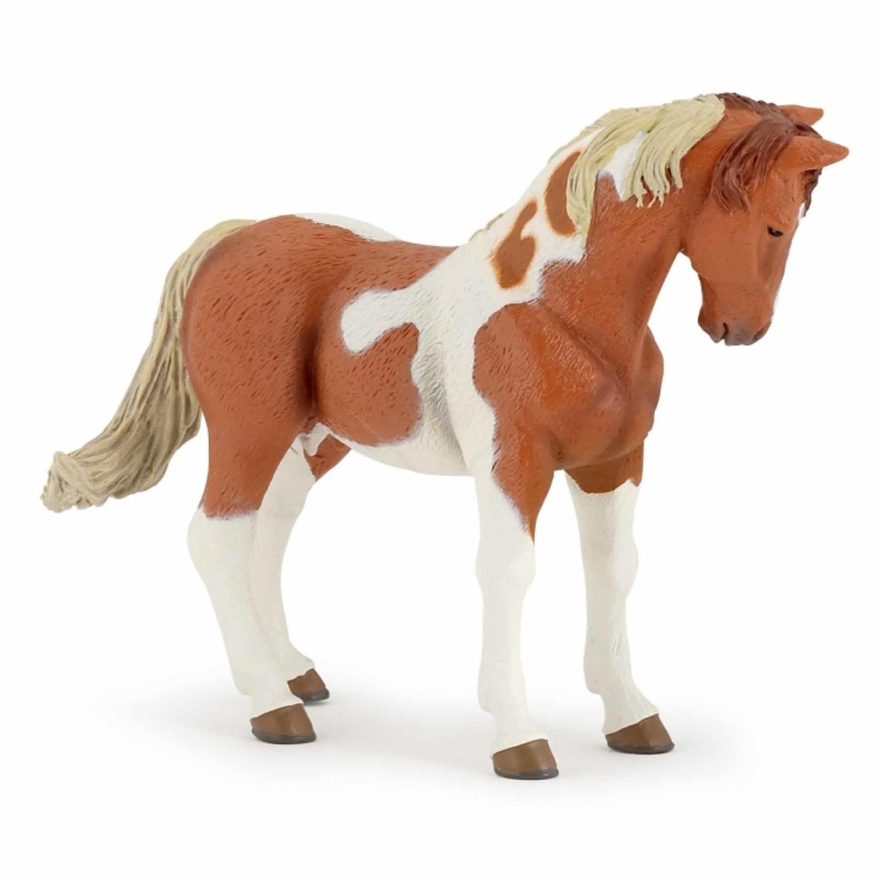 Plastic paard diertje bruin-wit 10 cm