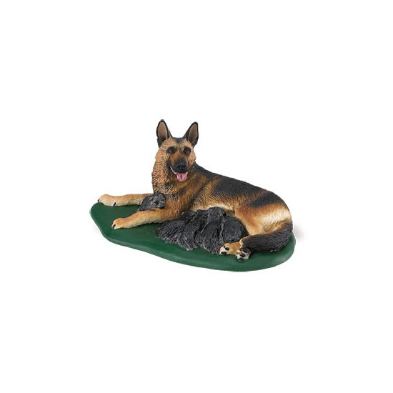 Plastic speelgoed Duitse Herder met puppies 10 cm