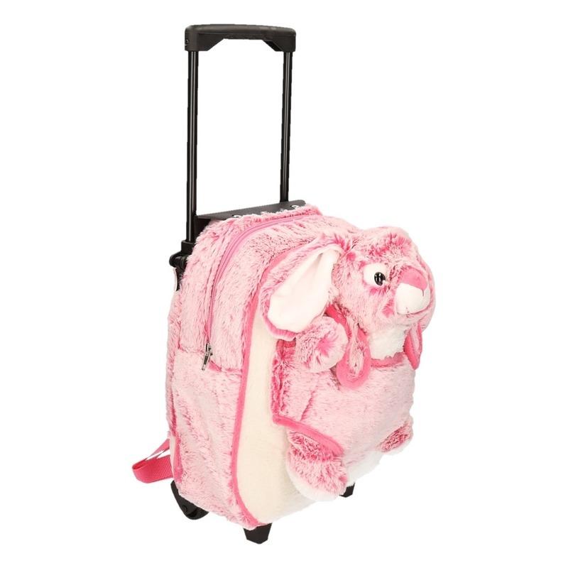 Pluche kinder trolley koffer met roze konijn-haas 35 x 25 x 13 cm