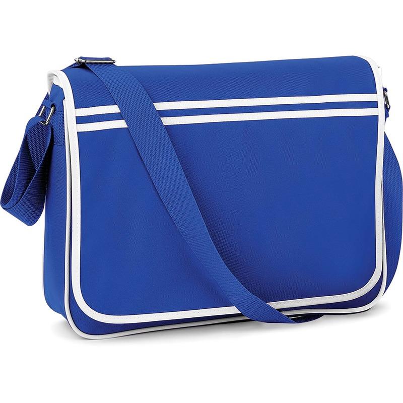 Retro schooltas-laptoptas met verstelbare schouderband blauw-wit