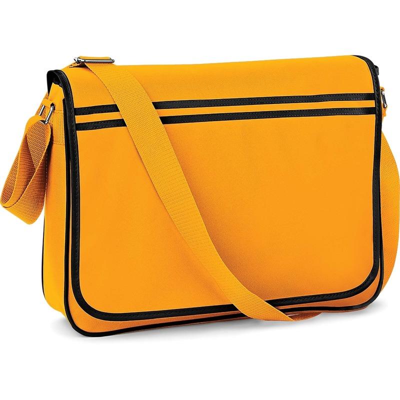 Retro schooltas-laptoptas met verstelbare schouderband geel-zwart