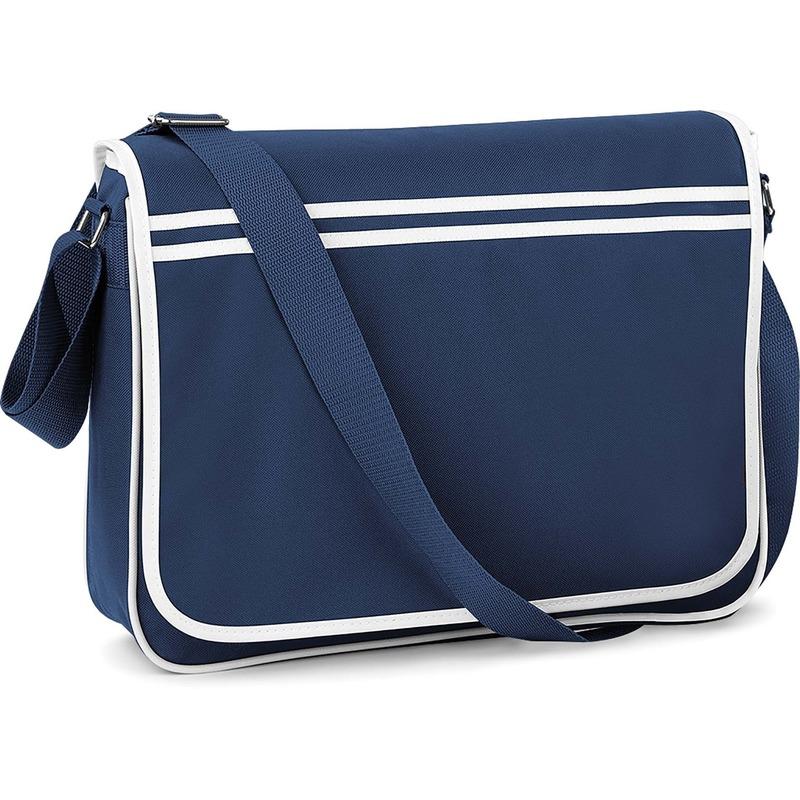 Retro schooltas-laptoptas met verstelbare schouderband navy-wit