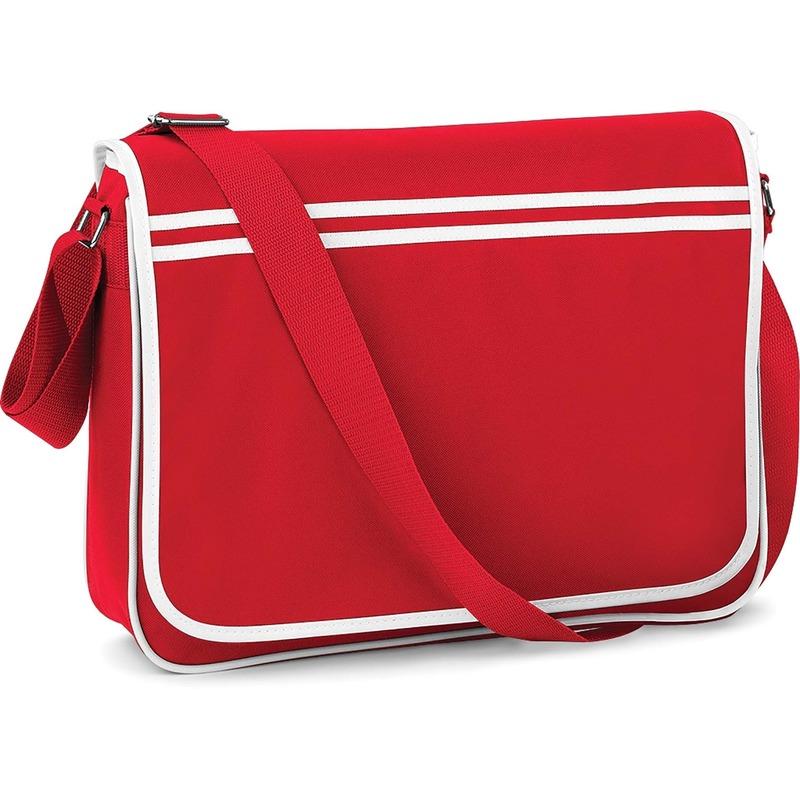 Retro schooltas-laptoptas met verstelbare schouderband rood-wit