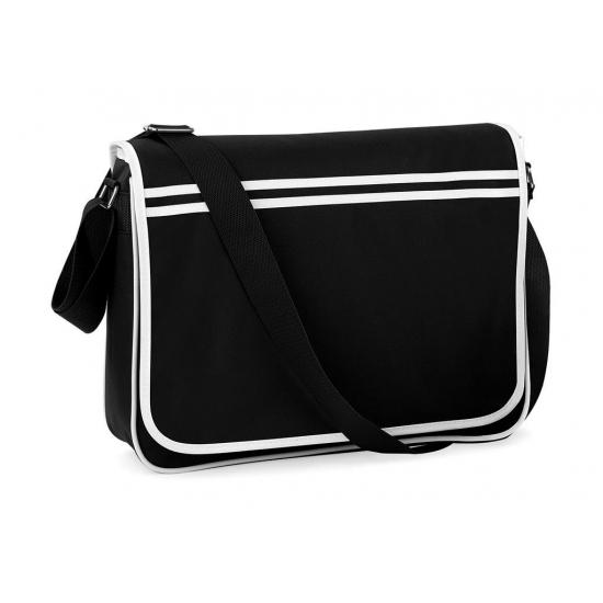 Retro schooltas-laptoptas met verstelbare schouderband zwart-wit
