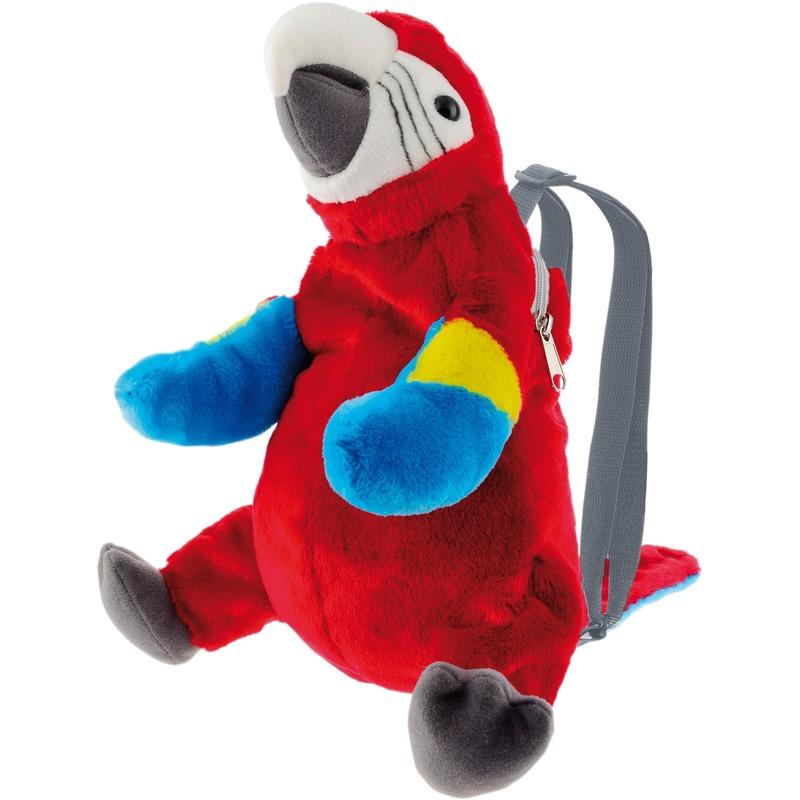 Rode ara papegaai vogel rugzak-rugtas knuffels 32 cm knuffeldieren