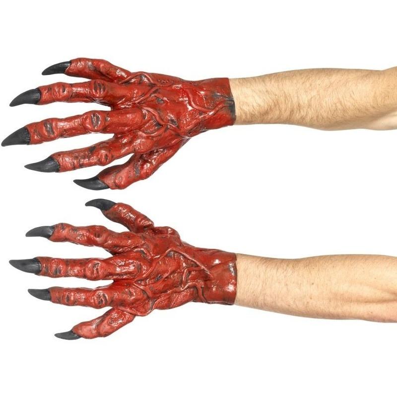 Rode duivels handschoenen voor volwassenen