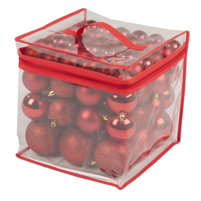 Rode kerstballen onbreekbaar 77 stuks 4-6-8 cm