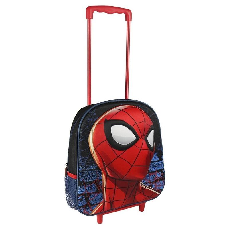 Rode Spiderman koffer op wieltjes voor kinderen