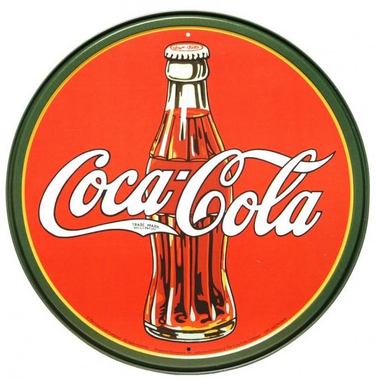 Ronde Coca-Cola muurdecoratie metaal 30 cm