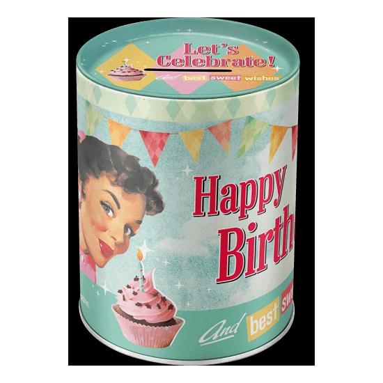Ronde spaarpot happy birthday 13 cm