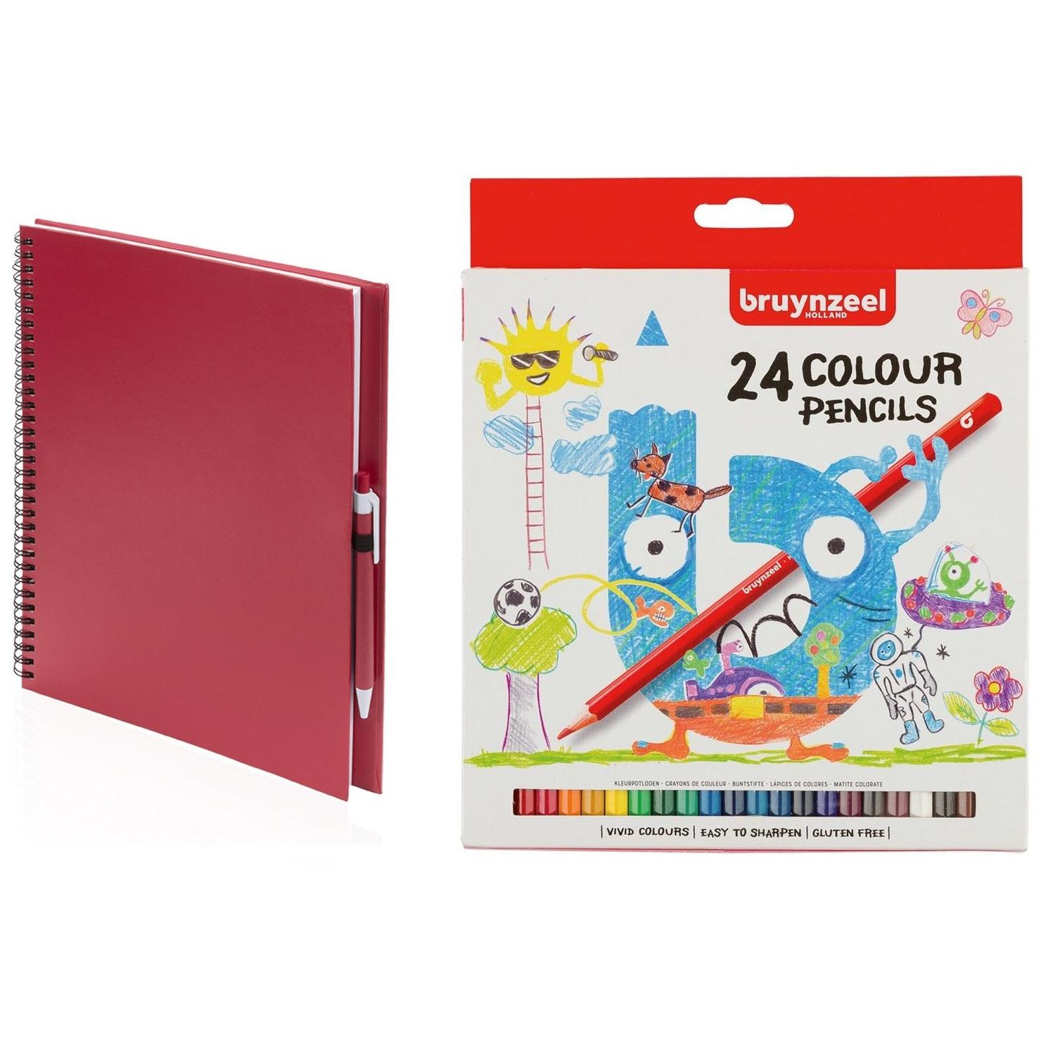Rood schetsboek-tekenboek met 24 kleurpotloden