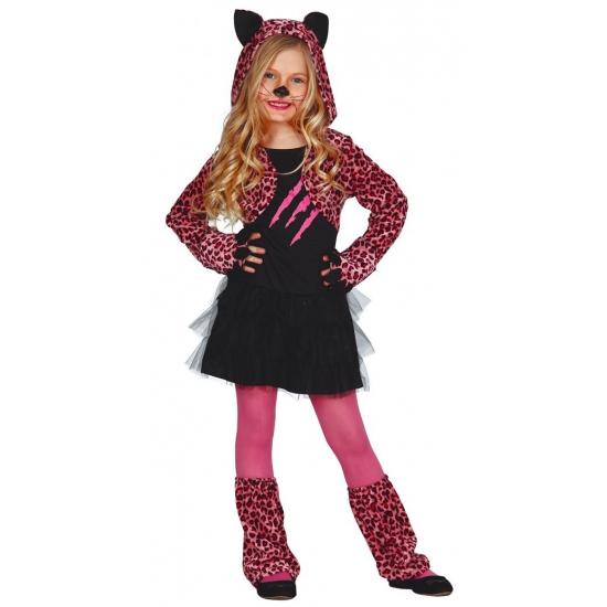 Roze katten carnaval-halloween pakje voor meisjes